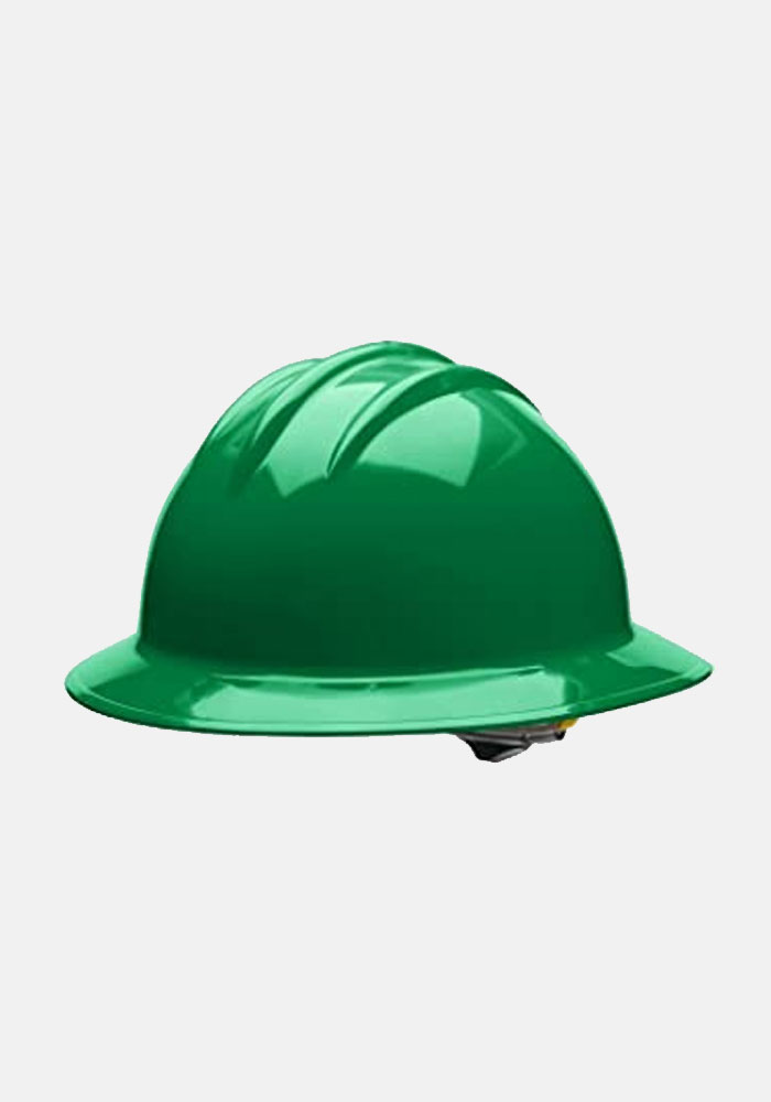 Bullard 4 Point Ratchet Suspension Full Brim Helmet Kelly Green