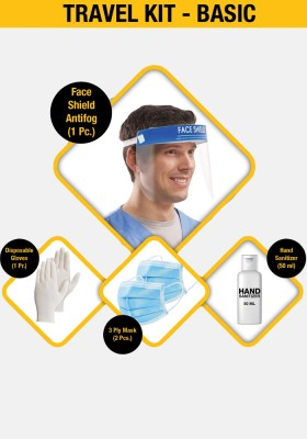 Basic Travel - Kit ( Face shield + Disposable gloves + 3 Ply mask + Hand sanitizer 50ml)