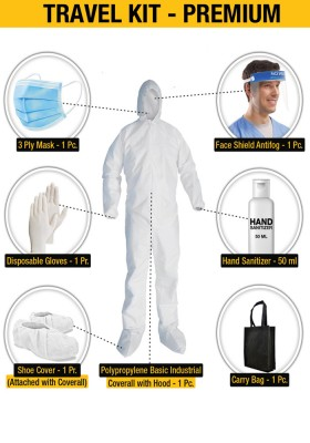 Travel Kit - Premium Bundle offer (Disposable coverall + 3 Ply Mask + Disposable gloves + Shoe cover + Face shield + Hand sanitizer 50ml + Carry Bag)